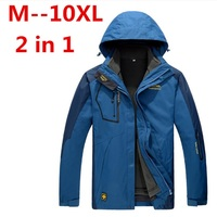 Plus Size 10XL 8XL 6XL 5XL Men S Waterproof Windpoof Jackets Men Thicken 2 In 1