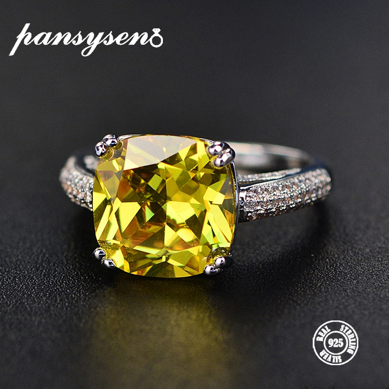 PANSYSEN Gemstone Rings Citrine Engagement Gifts Wedding 925-Sterling-Silver Natural