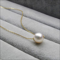 FREE SHIPPING 9 9.5MM White Real Akoya Cultured Pearl Pendant Necklace 18 Solid Yellow Gold