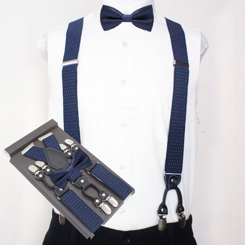 Man's Suspenders Set New Braces With Bow Tie Vintage Casual 6 Clips Suspensorio Trousers Strap Father/Husband's Gift