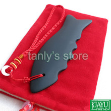 цены на Free shipping! Wholesale and Retail Black Bian Stone Fish Massage Guasha Board Natural Bian-stone health care  (135x40mm)  в интернет-магазинах