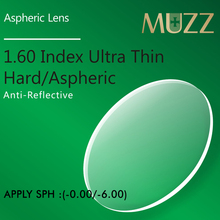 MUZZ Eye Glasses Lens 1 60 Index Thinner lighter High Quality Myopia Super Tough Resin Optical Prescription Eye glasses 2PCS cheap CR-39 Eyewear Accessories Lenses UV400 PT160