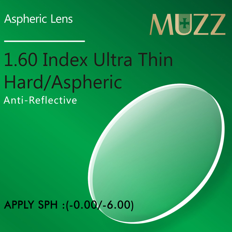 MUZZ Eye Glasses Lens 1.60 Index Thinner, Lighter High Quality Myopia Super Tough Resin Optical Prescription Eye Glasses 2PCS