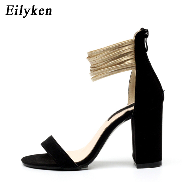 40e8a44f45a Eilyken Summer Women Sandals Square Block High Heels Ankle Strap Sandals  Ladies Concise Simple Pumps Flock