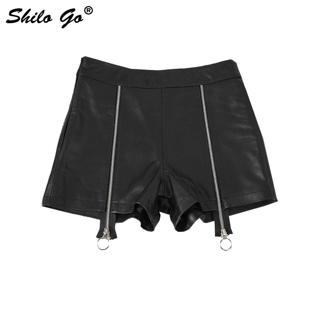 Leather Shorts Womens Summer Fashion Sheepskin Genuine Leather Shorts High Waist Front Double Zipper Concise Locomotive