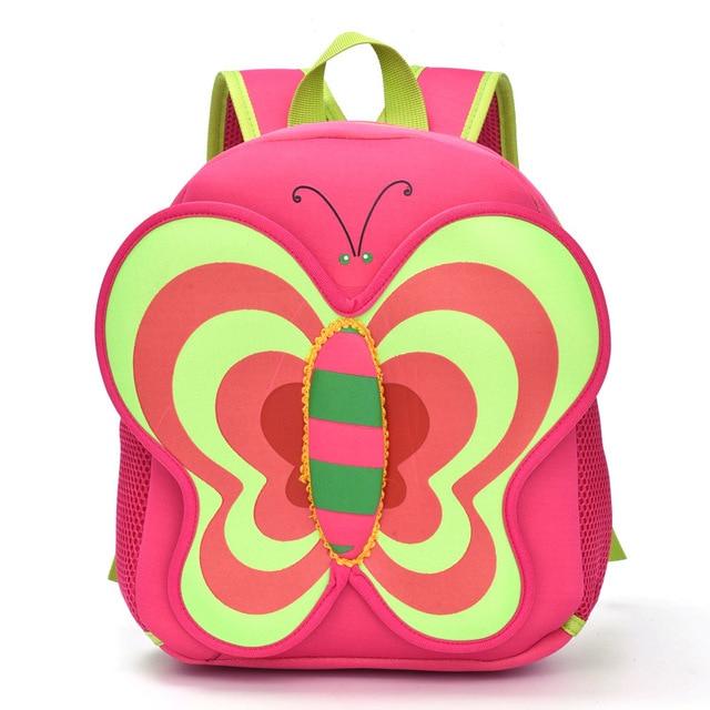 Butterfly Neoprene Waterproof Mochila Children Gift Kindergarten Backpack  Baby Children School Bags Design Kid Girls Bag 2cb62855c7b47