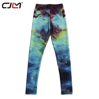 CJLM Women Leggins 2017 Spring Sporting Pants 3d Green Galaxy Printed Gothic Jeggings Fashion Elastic Slim