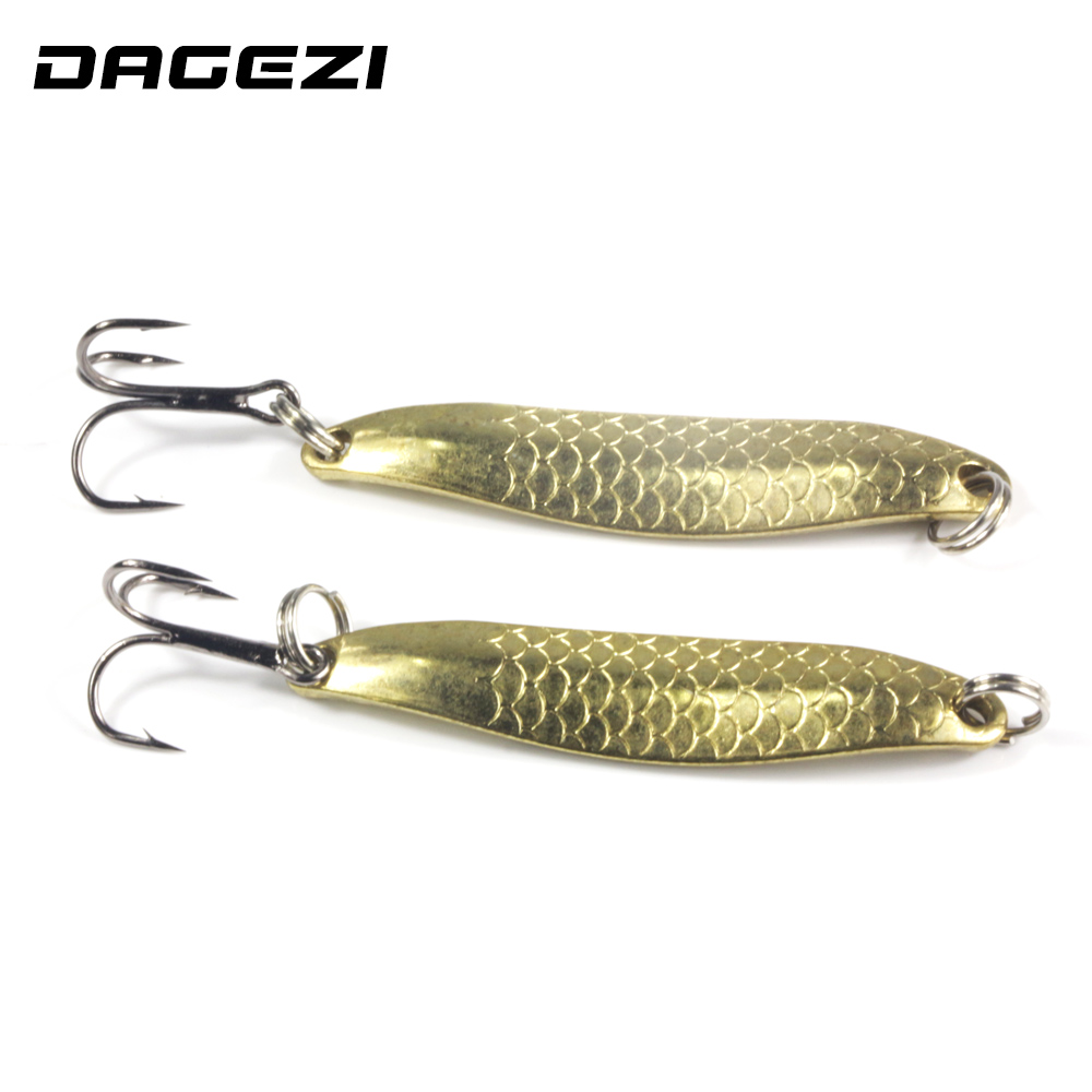 DAGEZI Gold Metal Sequins Fishing Lure Spoon Lure Noise Paillette Hard Baits Treble Hook Pesca Fishing Tackle 10pcs box metal spoon fishing lure hooks spinner baits sequins hard artificial jigging lure kits isca fishing tackle accessories
