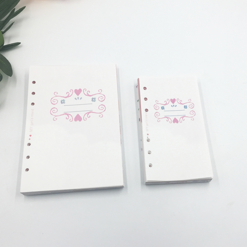 Girly Cute School Notebook Filler Paper set For dokibook Spiral notebook A6A5 planner Diary Refill 2018 Kawaii school Stationery