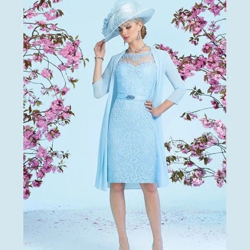 Hot Baby Blue Sheath Knee Length Mother Of The Bride Dresses Three Quarter Sleeve Dress With Jacket In