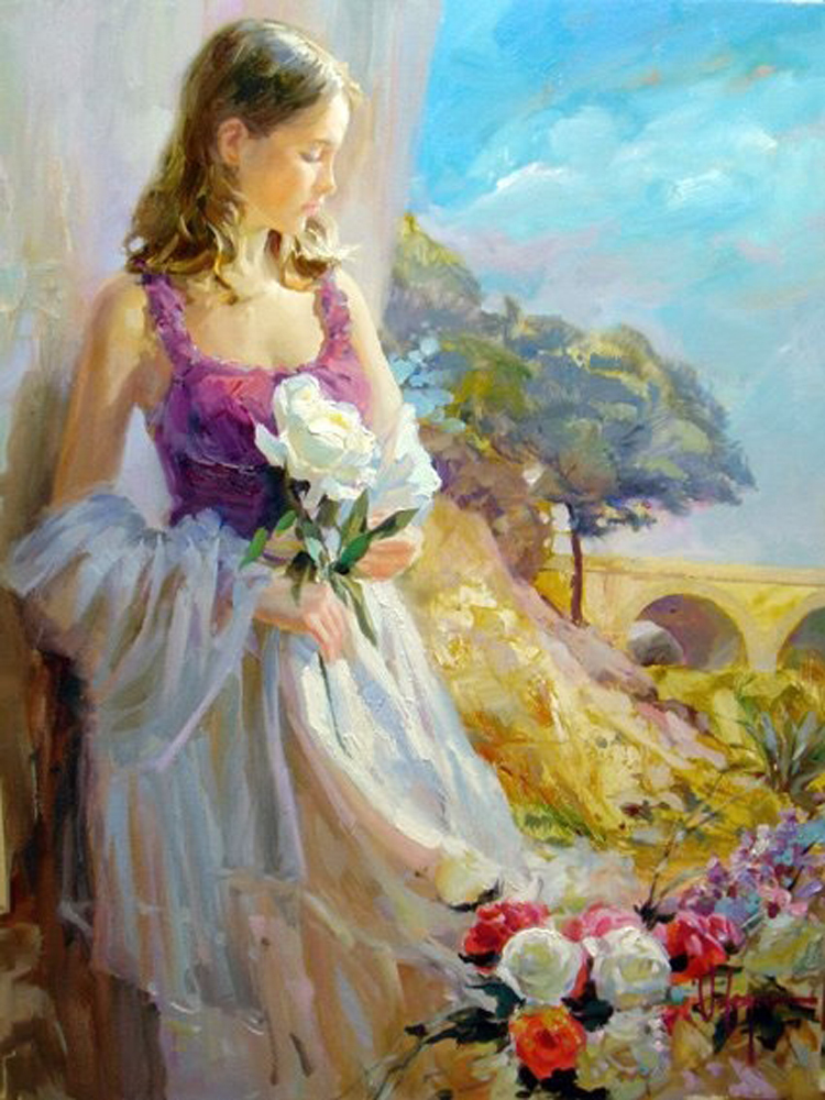 Top Quality Beautiful Europe Young Girl Oil Painting On -4970