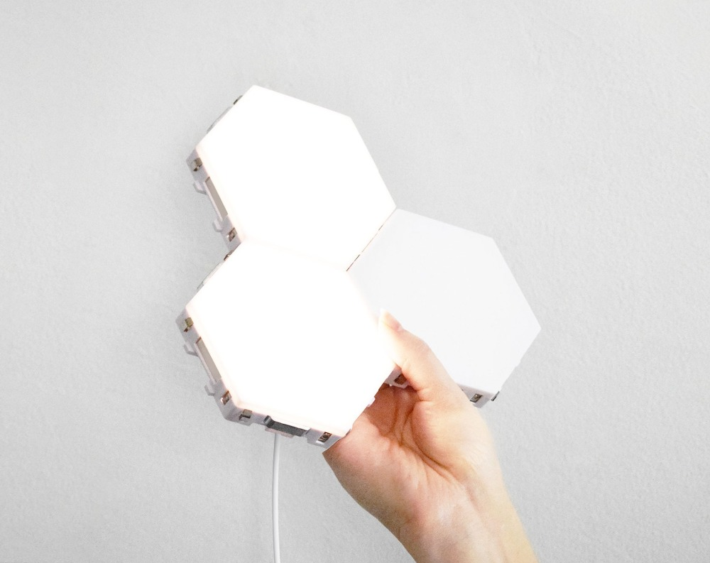 DIY Quantum Lamp LED Hexagonal Lamp Touch Sensitive Modular Night light Magnetic Hexagons Creative Decoration Wall Lamp