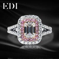 EDI уникальный 585 Золото Twist кольцо 14 К White Rose Gold 1ct изумрудом огранки moissanites diamond Обручение обручальное кольцо ювелирные изделия