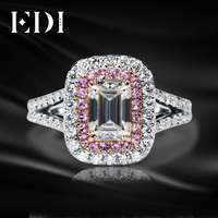EDI Unique 585 Gold Twist Ring 14K White Rose Gold 1CT Emerald Cut Brilliant Moissanites Diamond Engagement Wedding Ring Jewelry