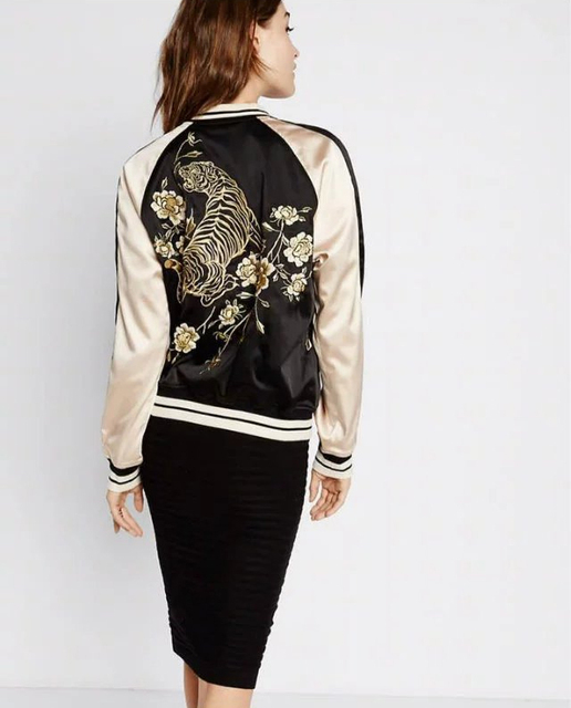 e0450fc4bf US $49.45 |Basic Jackets Women Tops Jacket Fashion Bomber Jacket Golden  Rose Embroidery Back Tiger Pilot Baseball Coats Thin Section -in Basic  Jackets ...