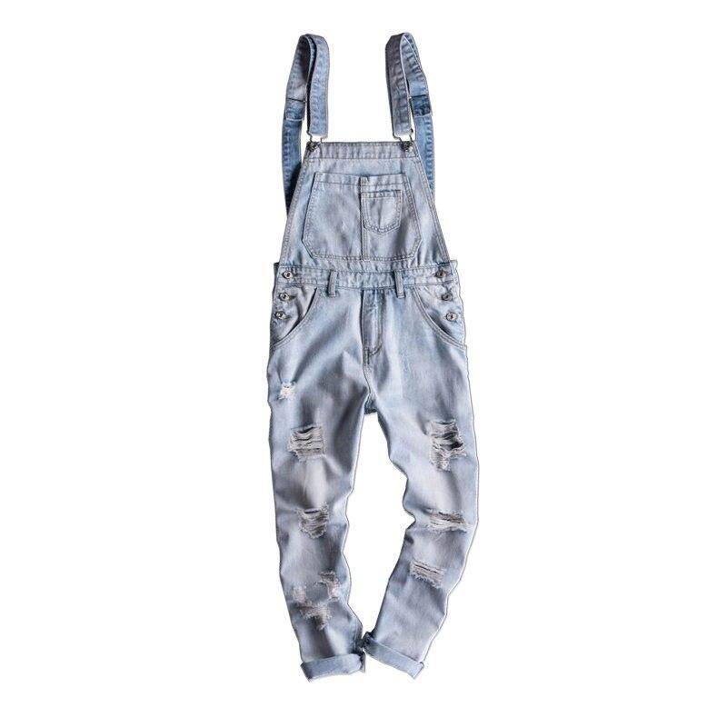 Slim Degli Chiaro Tuta Americano Hip Foro Salopette Marea Jeans Del  Pantaloni Dei Colore Uomini Delle Coreano Di Uomo E Blue Bib hop ... 2cd6e18e10d5