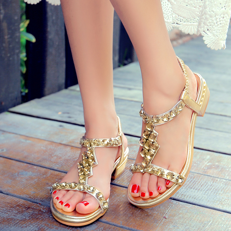 LAPOLAKA Wholesale New Large Sizes 33-43 Summer Leisure Beach Sandals Crystals Women's Shoes Chunky Heels Woman Sandals