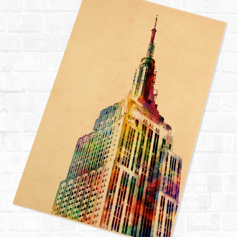 Empire State Building, New York City Art Vintage Retro Poster ...