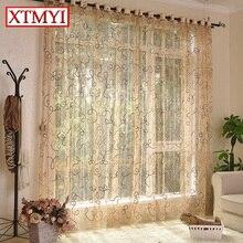 Tratamientos de tul Cortina cortinas de la cocina café marrón estilo europeo puerta de la cortina de tul ventana de la flor niños dormitorio