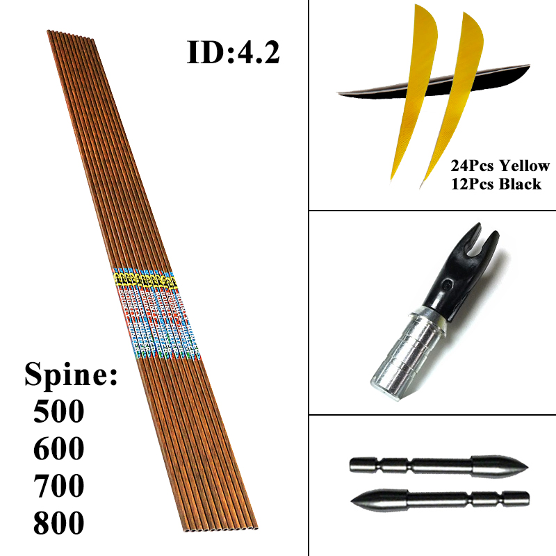 Linkboy Archery 12PCS ID4 2mm 30inch Sp500 800 Carbon Arrows 3 Turkey Feather Pin Nocks DIY
