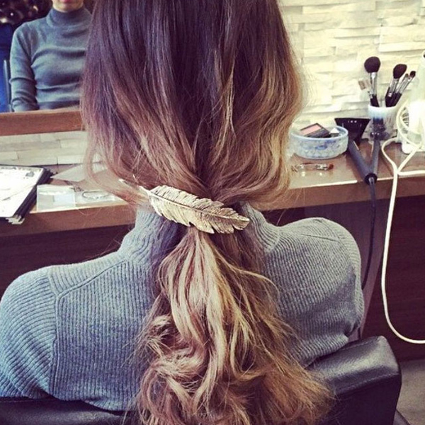 branded design leaves metal hair