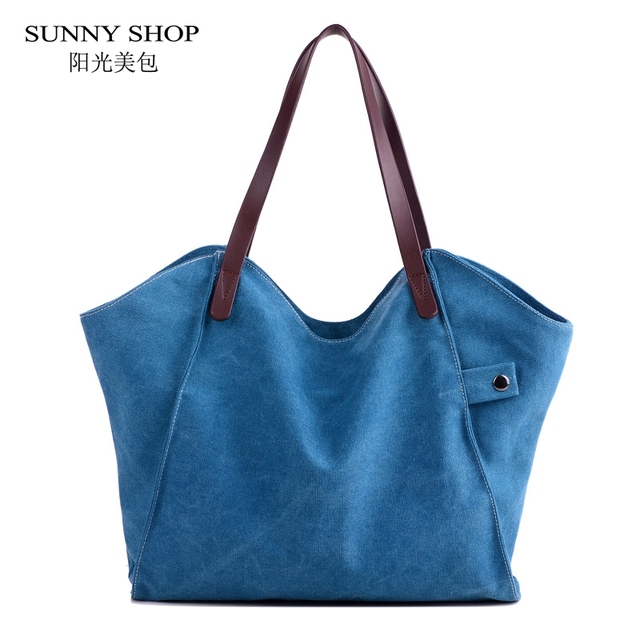9c7d117afe4c Vintage Canvas Big Bag For Women Cansual Handbag Female Fabric Durable  Shopper Sling Bag Tote 2018
