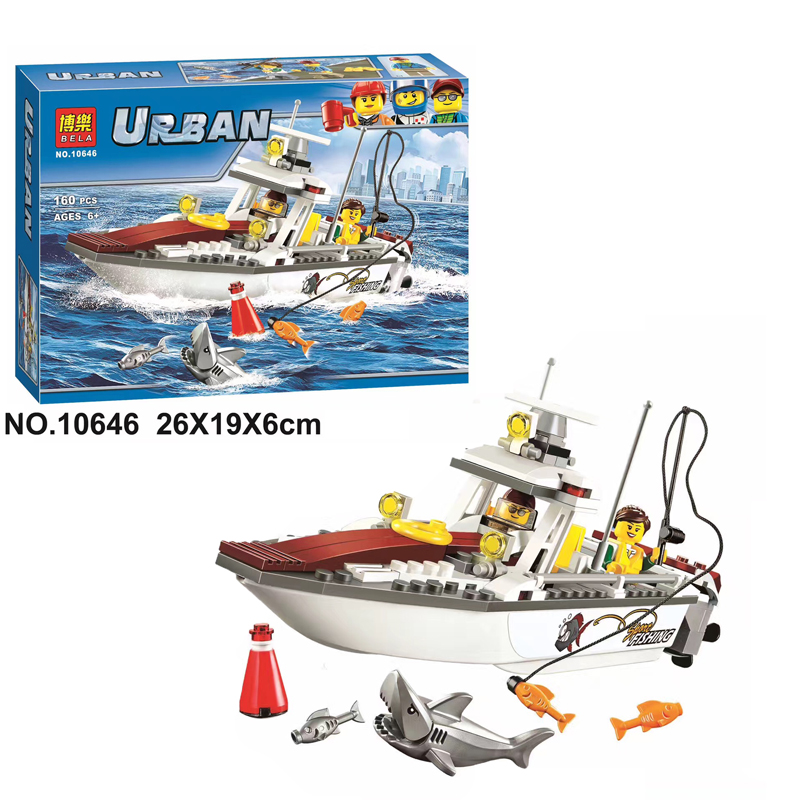 2017 New Bela 10646 160Pcs City Figures Fishing Boat Model Building Kits Blocks Bricks Toys For Children Gift Compatible 60147 335pcs 0370 sluban figures aviation city aircraft medical air ambulance model building kits blocks bricks toys for children gift