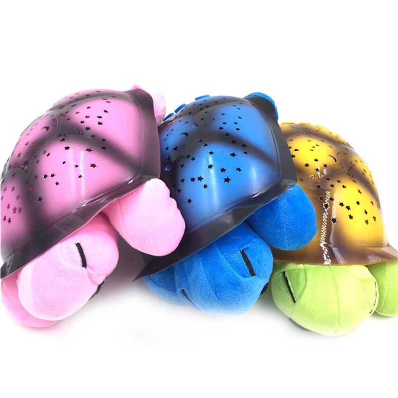 1PC Cute Design Turtle Led Night Light Stars Projector Baby Toy Lamp With Music night lamp bedroom dectoration table lamp kids