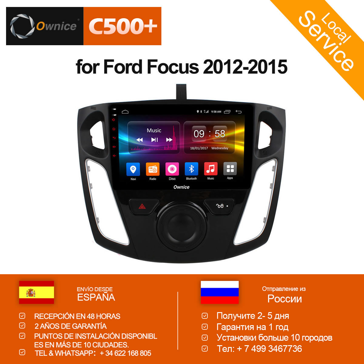 Ownice C500+ G10 Octa 8 Core Android 8.1 Car Radio Player GPS Navi for Ford Focus 3 2012 2013 2014 2015 Support DVD 4G SIM Card цены онлайн