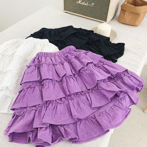 812336175e46 Autumn spring girls tutu skirts kids ruffle princess cotton linen ...