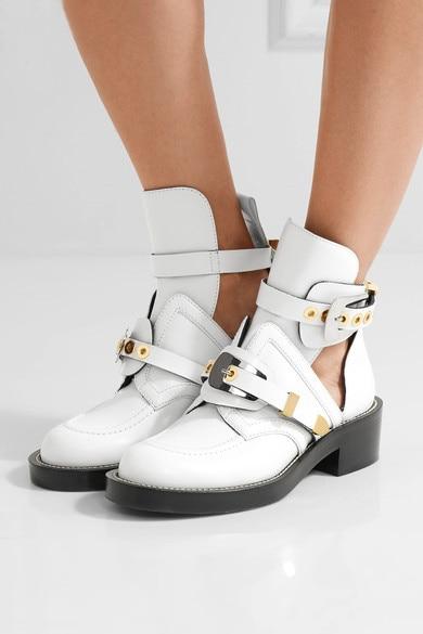 Femmes Marque Découpe Boucle Moto Chaussures Chaussons Noir Cheville Arrivée Gladiateur Nouvelle D'équitation Bottes Boot Appartements 2017 8qEvxv