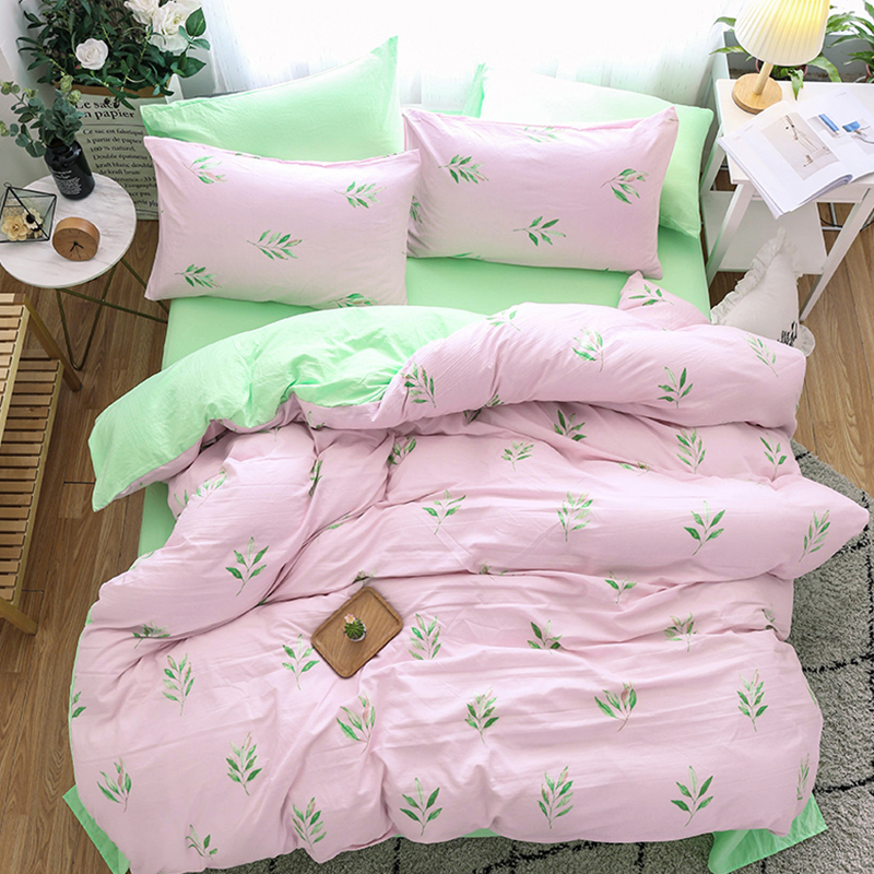 Solstice Home Textile Bedding Sets Light Pink Green Duvet Cover Pillowcase Bed Sheet Woman Bedclothes King Queen Comforters