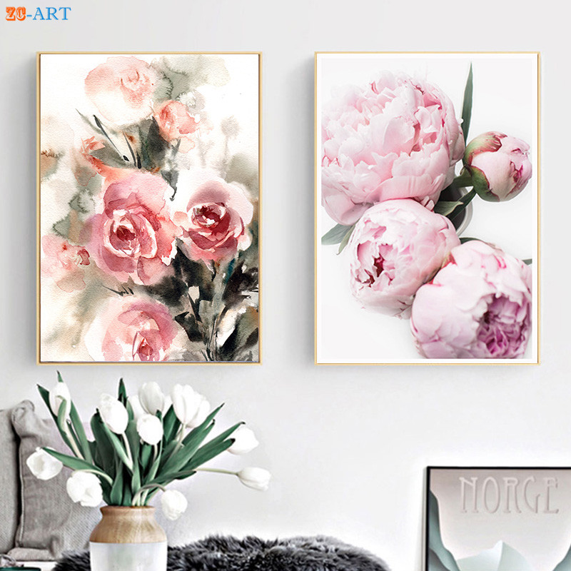 Pink Roses Peony Prints Watercolor Painting Flowers Botanical Modern