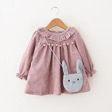 Autumn Baby Girls Dresses For Kids Girls Long-sleeved Princess Dress Lotus Leaf Collar Doll Dress + Bag 2Pieces 1st Girls Dress