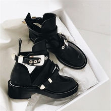 Punk Booties Buckle Straps Thick Heel Black Ankle Boots Cut Out Woman Boots Motorcycle Brand Designers