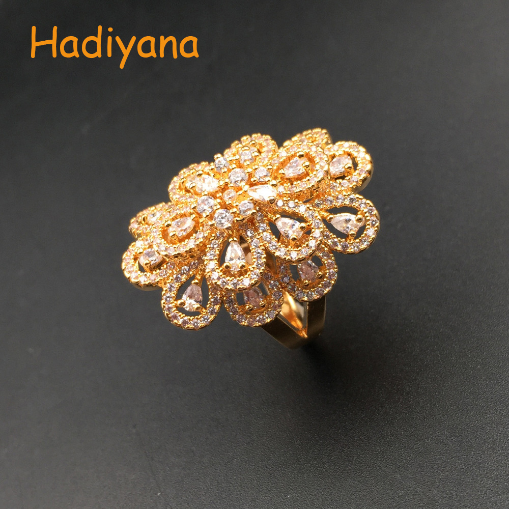HADIYANA Sparkling Cubic Zirconia Big Flower Shape Finger Ring, Luxury Dubai African CZ Fine Jewelry Ring For Women Party CP359