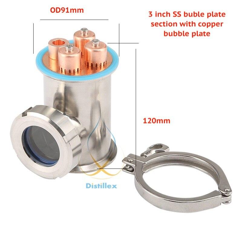 Abrazadera 3 76mm (brida OD91mm) Sección de placas SS304 con placa de burbuja de cobre para destilación. - 1