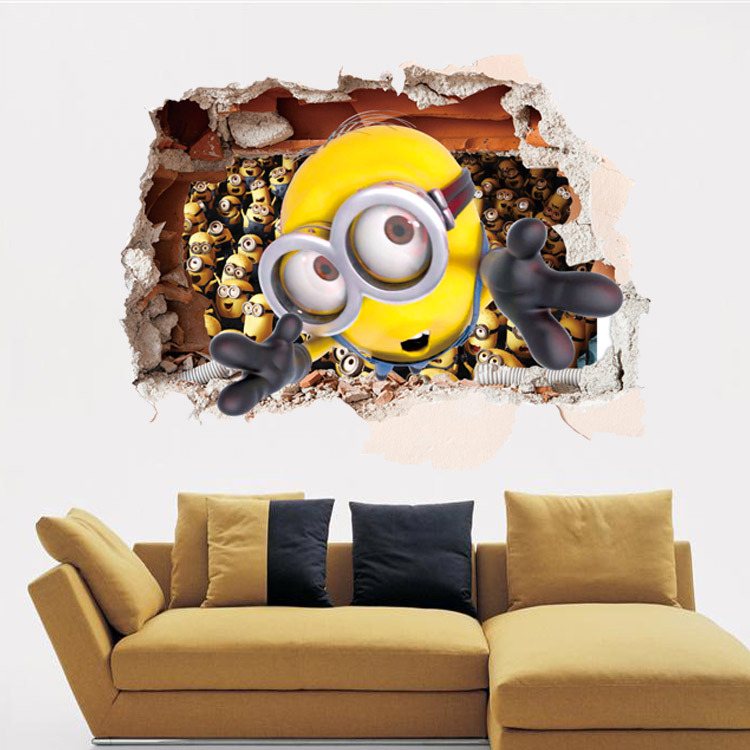 Aliexpress.com : Buy 3D Sewer Minions Wall Stickers Cartoon DIY Removable  Wall Decals For Kids Room Girl Baby Bedroom Animal Home Decor From Reliable  ... Part 80