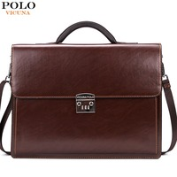 VICUNA POLO Luxury Famous Brand Password Lock PU Leather Bags Men Briefcase Business Office Bag Leather