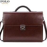 Vicuna polo di lusso marca famosa blocco della password sacchetto di cuoio degli uomini d'affari valigetta borsa ufficio in pelle maleta grande portafoglio uomo