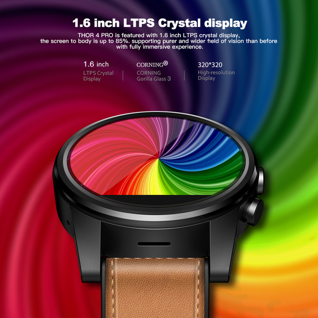 Zeblaze THOR 4 PRO 4G SmartWatch 1.6 inch Crystal Display GPS/GLONASS Quad Core 16GB 600mAh Hybrid Leather Strap Smart Watch Men