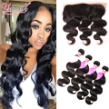 7A Ear To Ear Lace Frontal Closure With Bundles 3 Bundles Malaysian Body Wave With Closure Full Lace Human Hair Weave Bundles