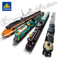 Transportation Building Block Sets Compatible with lego Trains KTX 3D Construction Bricks Educational Hobbies Toys for Kids