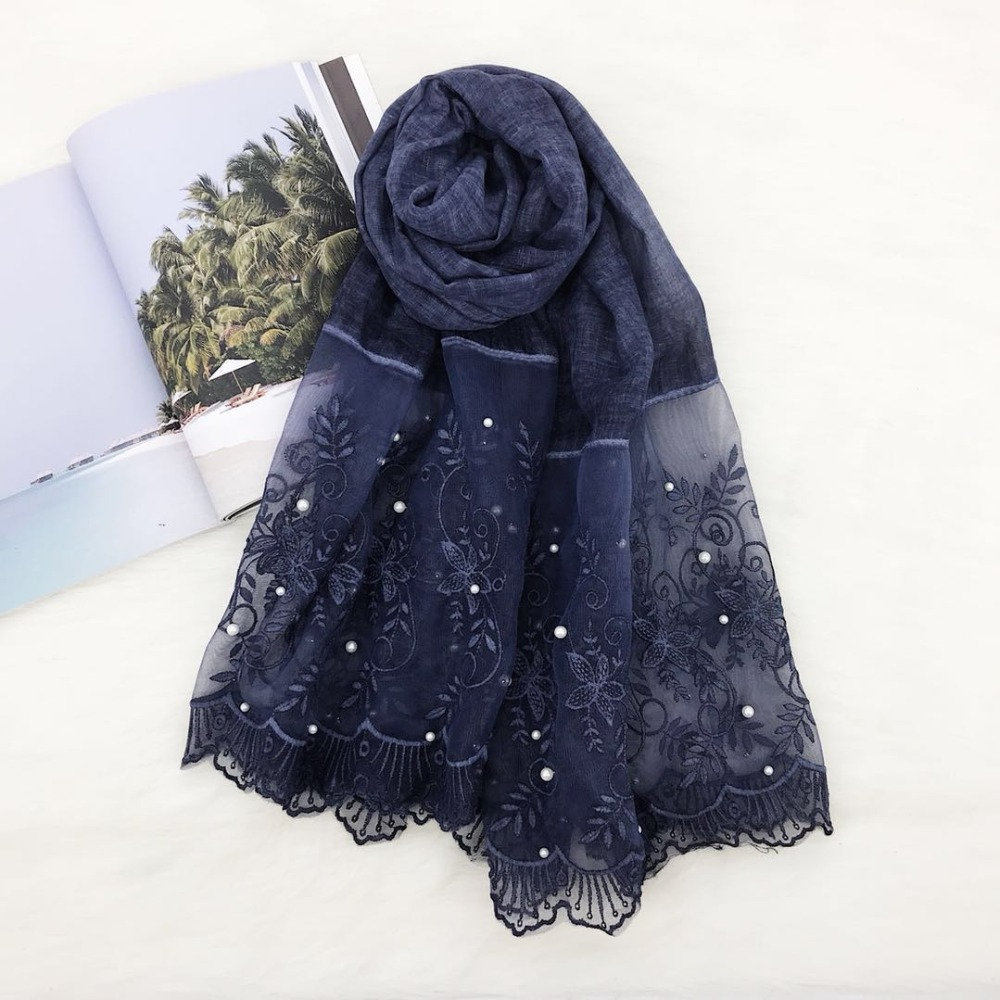 Luxury women floral lace beads scarf bandhnu cotton muslim hijab scarves wraps pearl headband shawls 180*90cm 10pcs/lot