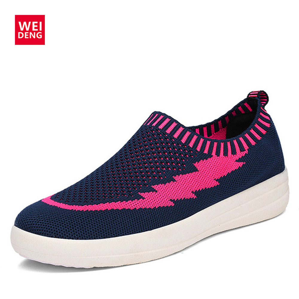 WeiDeng Designer Shoes Women Mesh Breathable Woman Flats Fashion Sneakers Fitness Slip On Rubber Moccasin Casual Flat instantarts 2018 summer women slip on flat shoes nursing pattern breathable ladies sneaker shoes fashion air mesh woman flats
