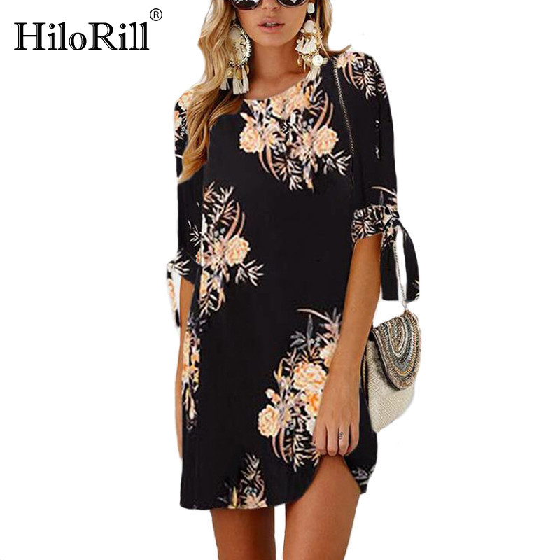 Women Dress 2019 Summer Sexy Floral Print Chiffon Dress Boho Style Short Party Beach Dresses Tunic Vestidos De Fiesta Plus Size