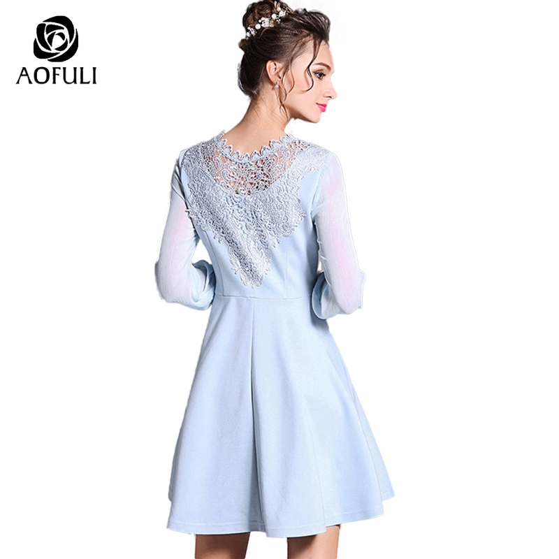 Abbigliamento S Marca Per 3735 2018 Manica 5xl Blu Primavera Di Donna Da A  Donne Lunga Office Size Abiti line Ricamo Big ... 547d3fee142