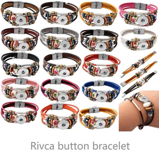 P00443 17color stainless steel clasp 20cm rivca snap buton real leather bracelet fit 18mm button snap button armband