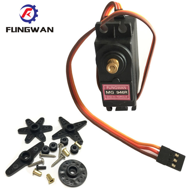 4 pieces  MG946R  upgrade RC Metal Gear Torque Servo For Boat CAR 13KG Torque Metal Servo MG946 Upgraded MG945 fast