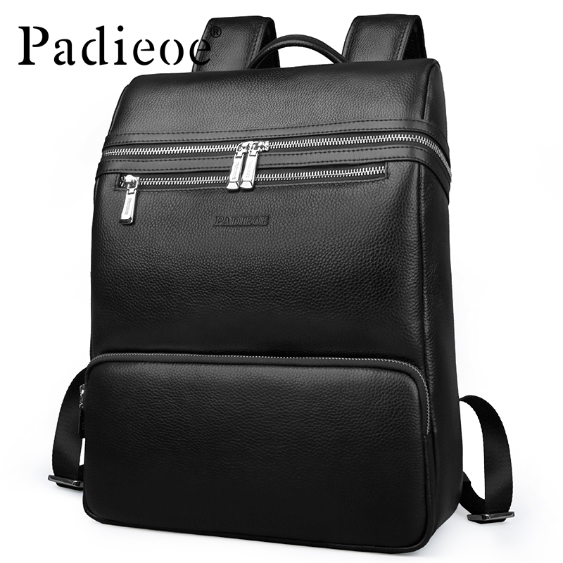 Padieoe Mochila Escolar Male Notebook Backpack Genuine Leather Teenager School Bags 14 Inch Laptop Bags Men's Travel Backpack